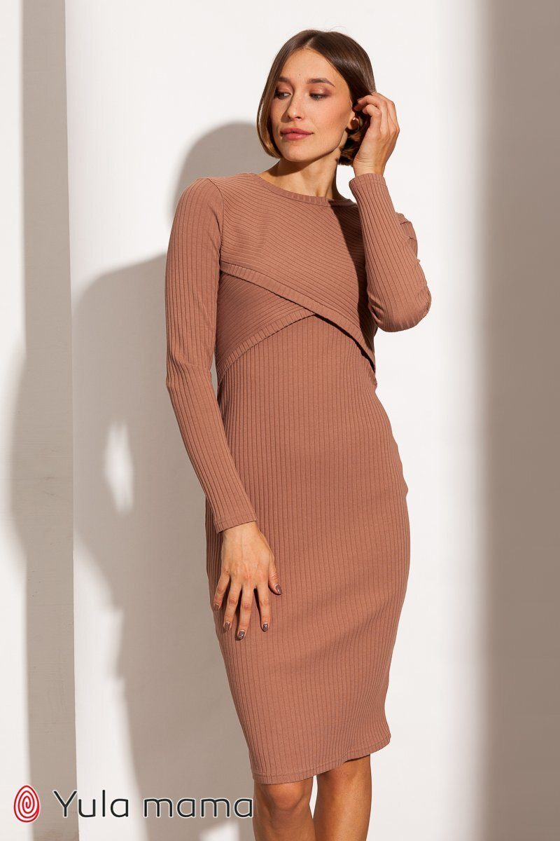 Платье-гольф для беременных и кормящих Lily new капучино