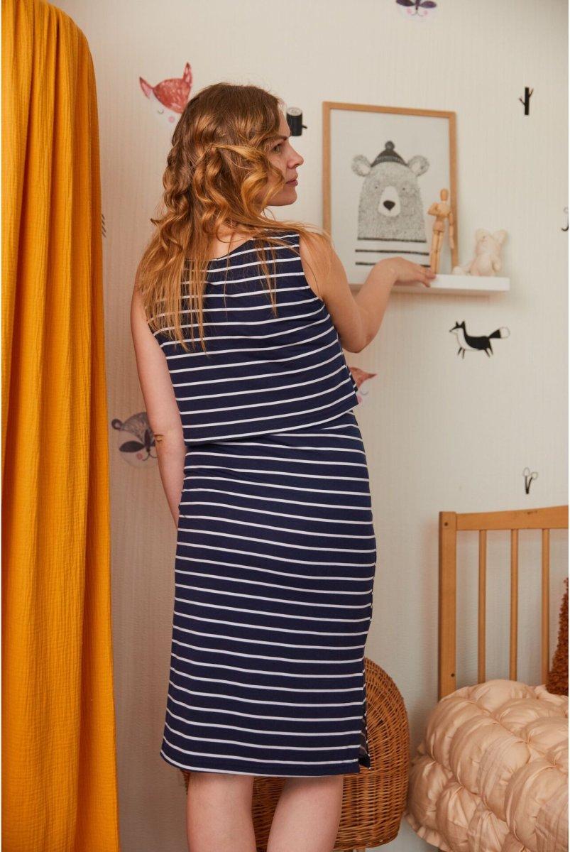 Сукня для вагітних і годуючих (міді) Sicilia в чорну смужку