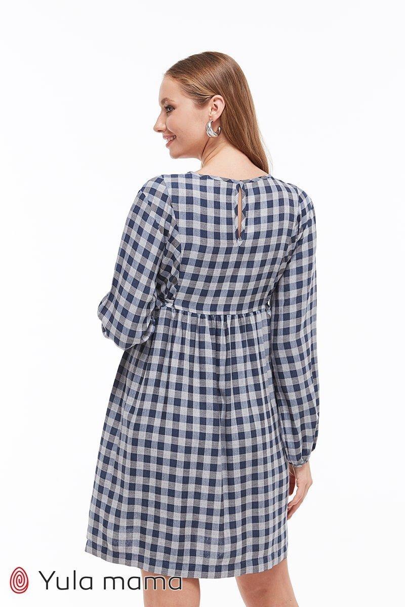 Плаття в клітку для вагітних і кормящи Loraine клітина синій