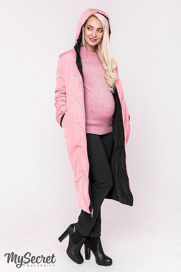 Зимнее пальто для беременных Tokyo черно-розовое