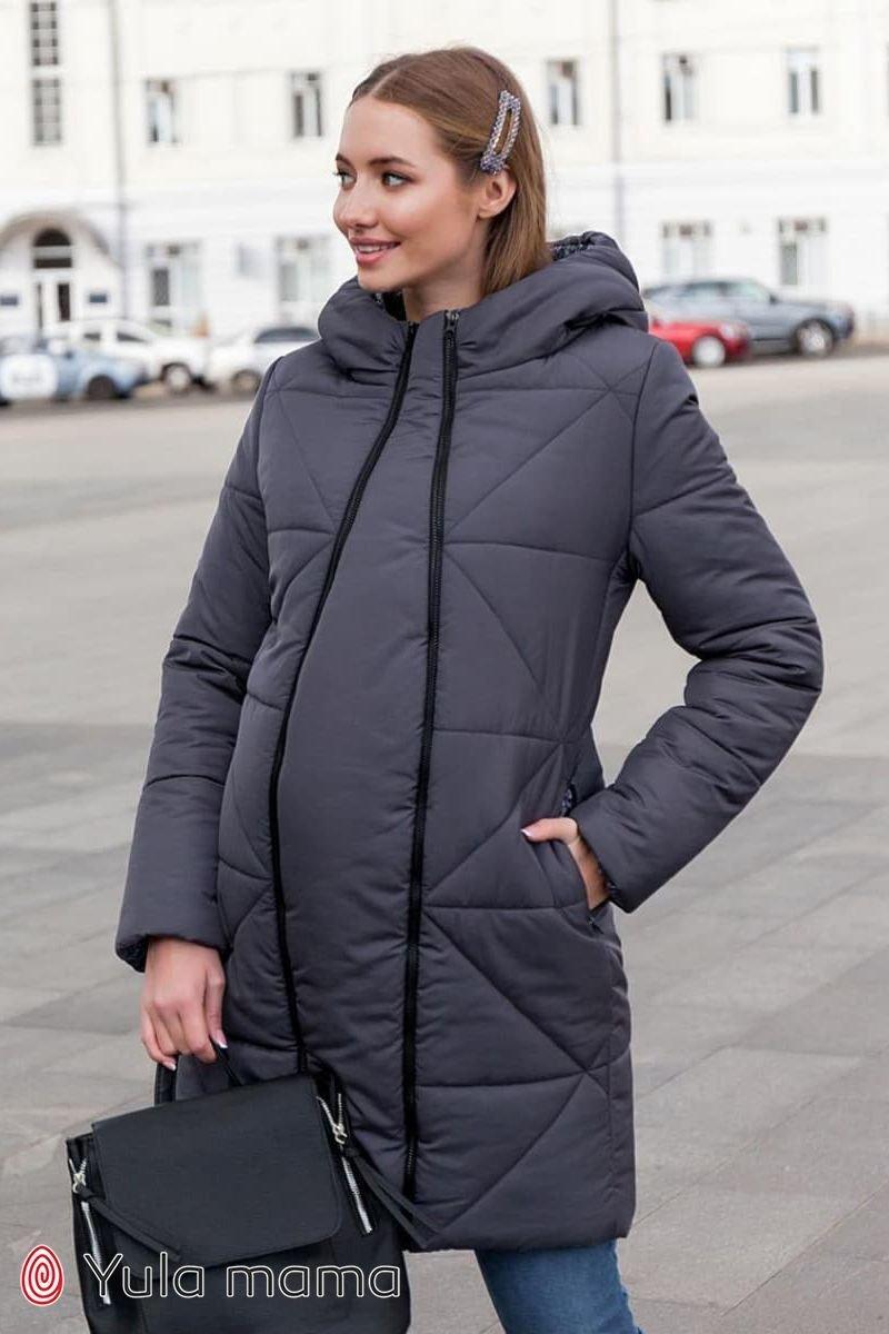 Зимовий тепле пальто для вагітних Angie графіт