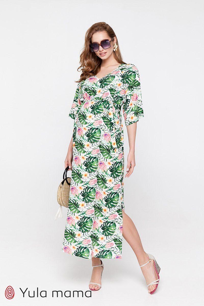 Платье для беременных и кормящих Fey яркие листья