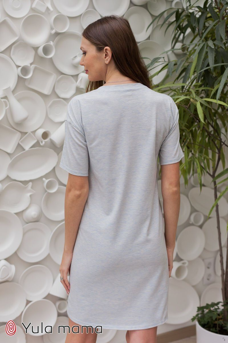 Ночнушка-футболка для беременных и кормящих Yasmin голубой