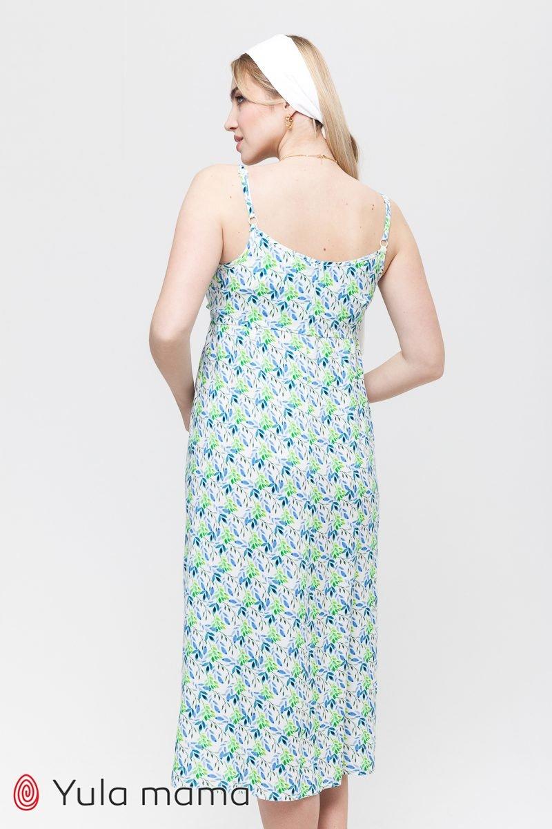 Сарафан для беременных и кормящих Ofelia зеленые листочки