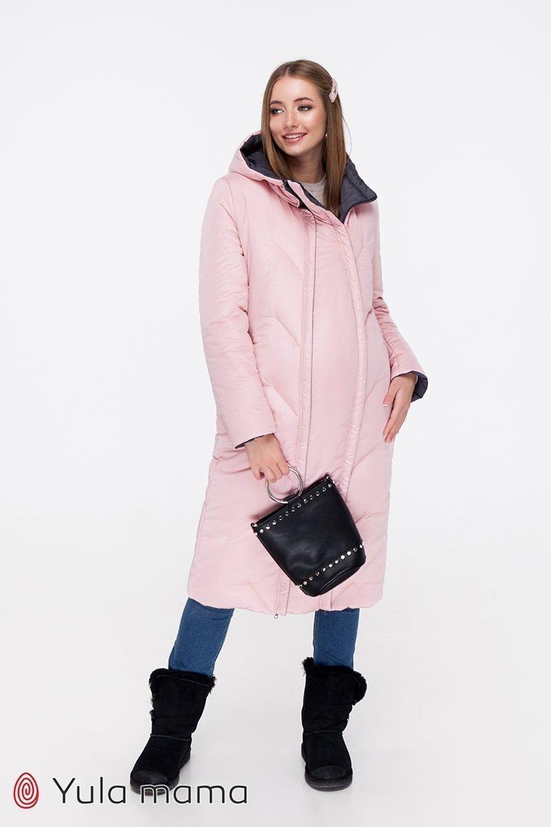 Зимнее пальто для беременных Tokyo графит + пудра