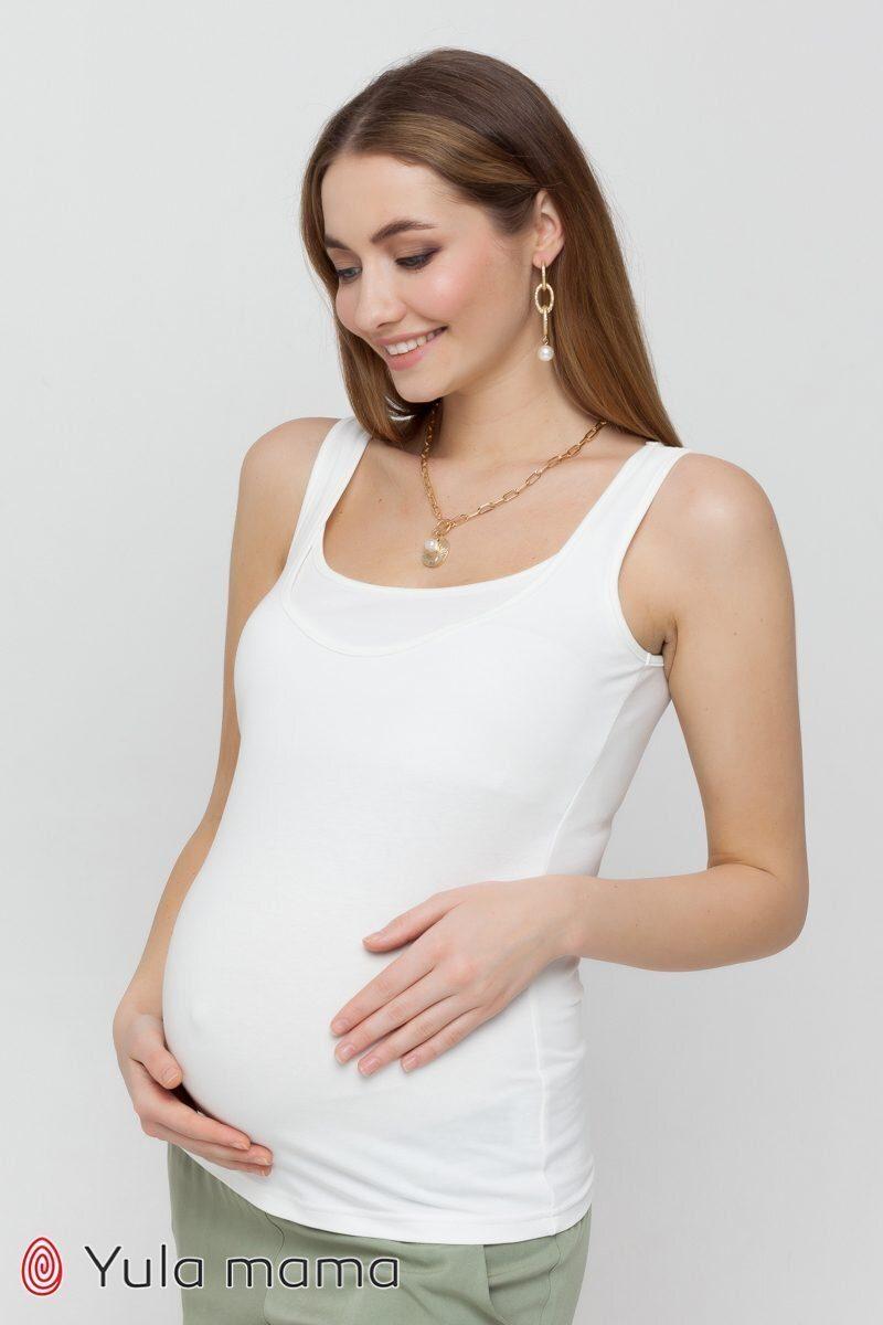 Трикотажная майка для беременных и кормящих Ezra молочный