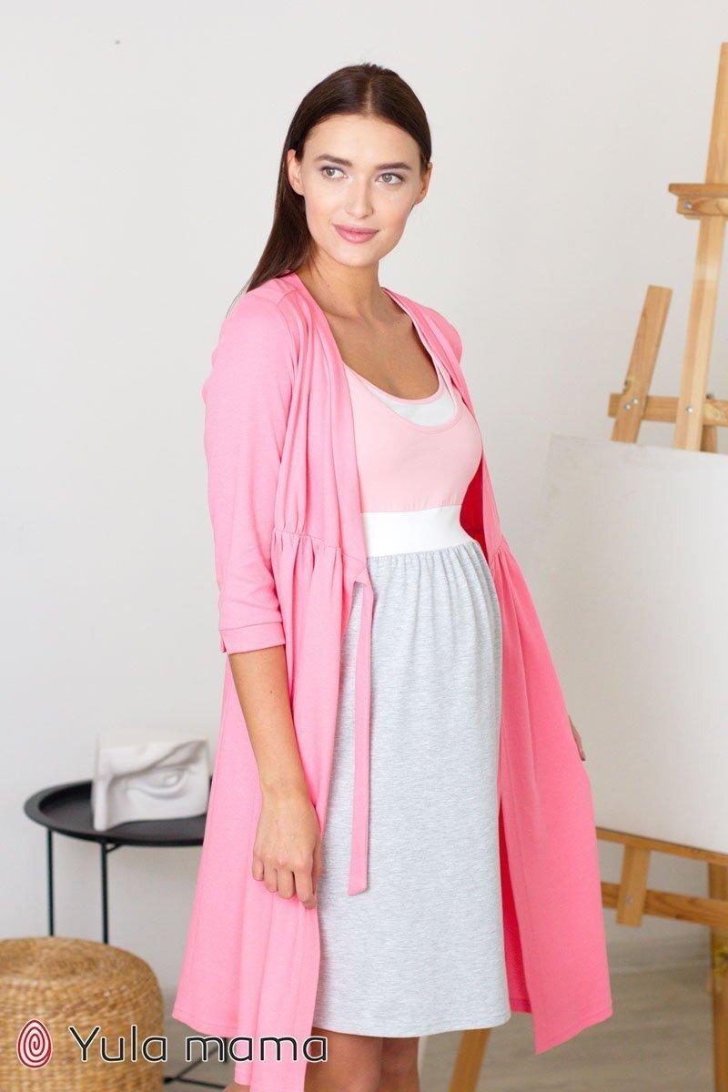 Ночная сорочка для беременных и кормления Sela серый меланж