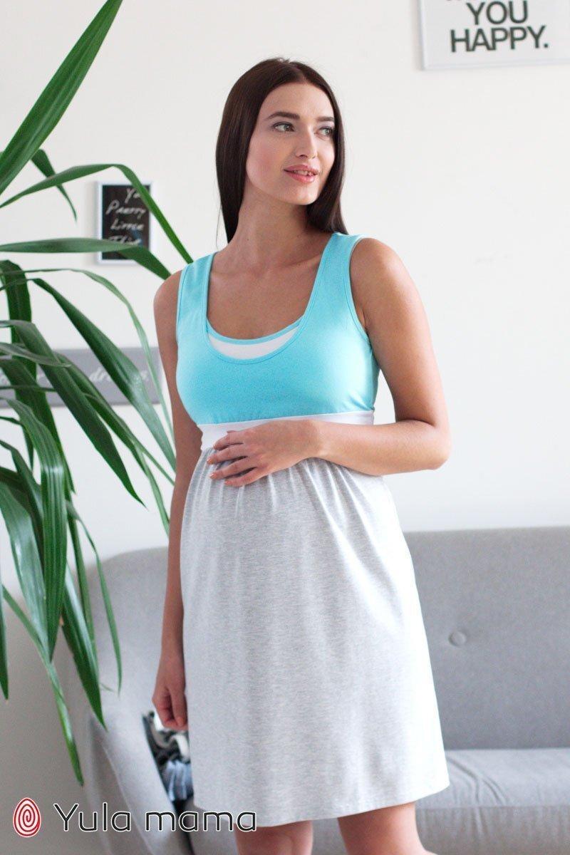 Ночная сорочка для беременных и кормления Sela меланж с аквамарином