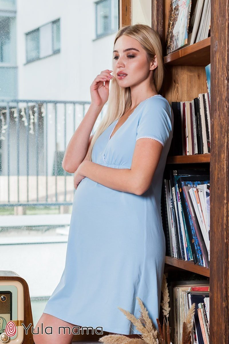 Ночная сорочка для беременных и кормящих Alisa light голубой