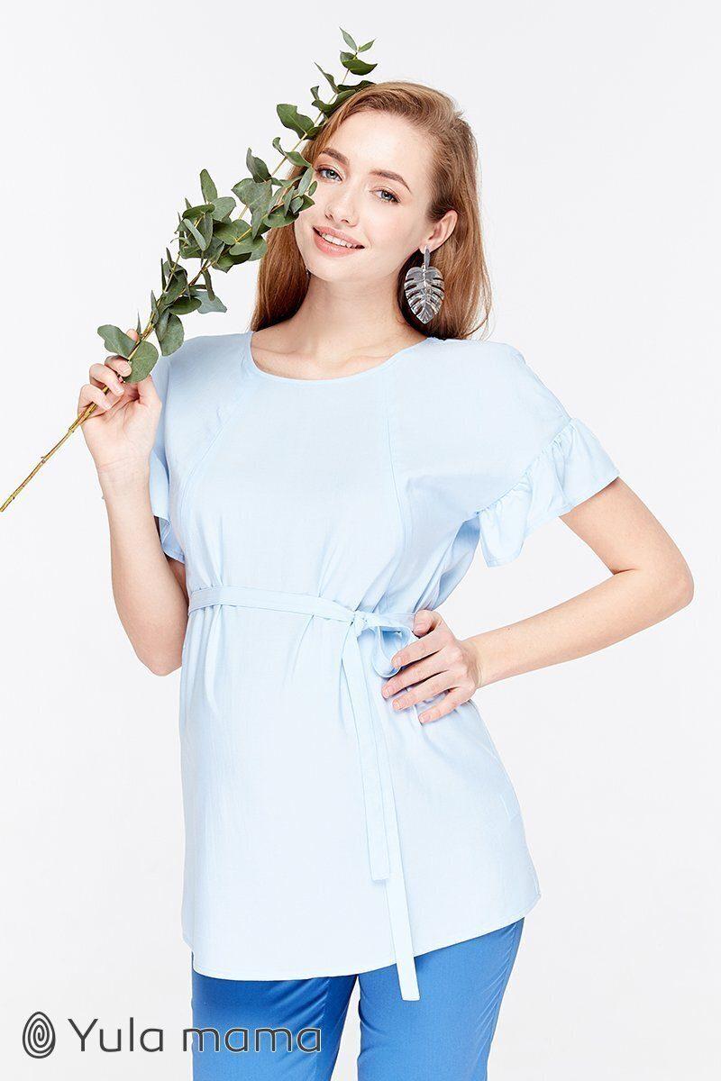 Блузка для беременных и кормящих Marion голубое шамбре