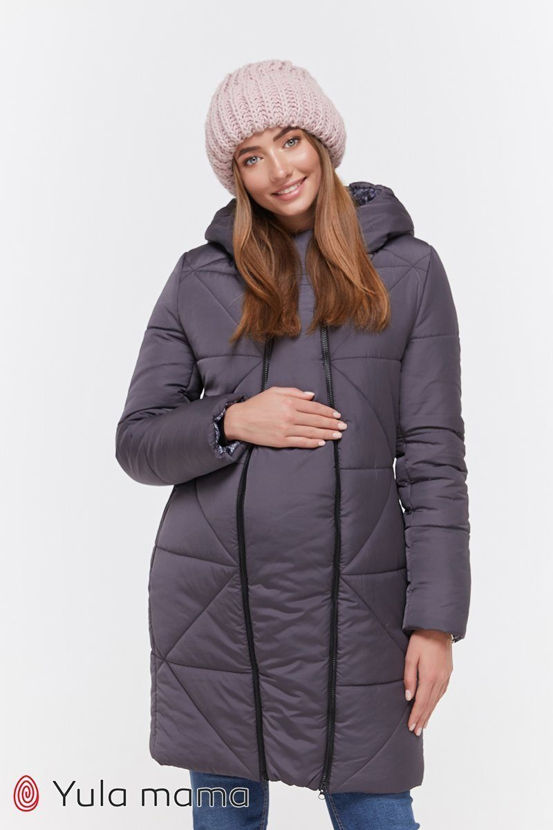 Зимнее теплое пальто для беременных Angie графит