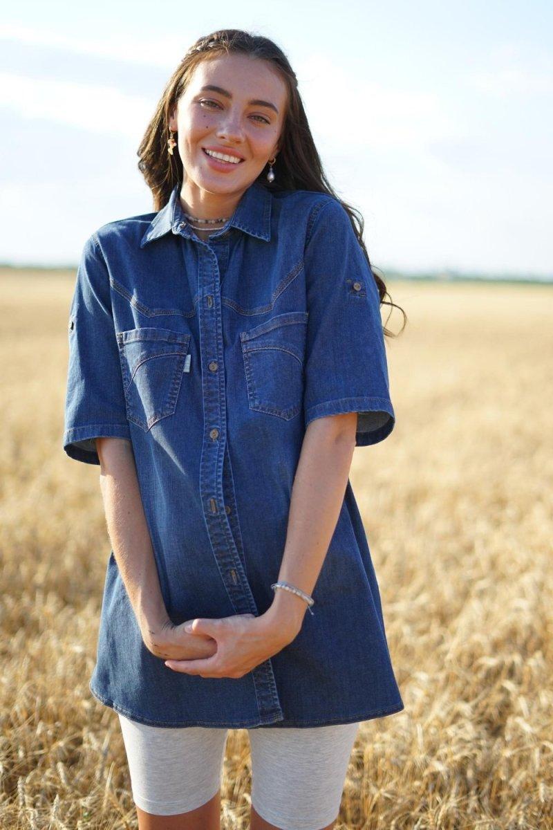 Блуза для беременных 898411 синий варка 3
