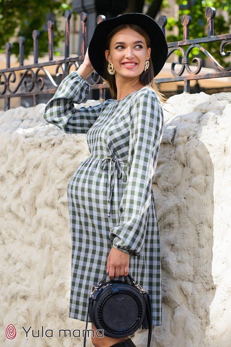 Плаття в клітку для вагітних і годуючих Loraine клітина хакі