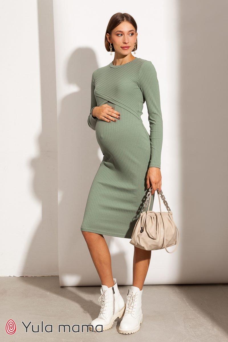 Платье-гольф для беременных и кормящих Lily new оливка
