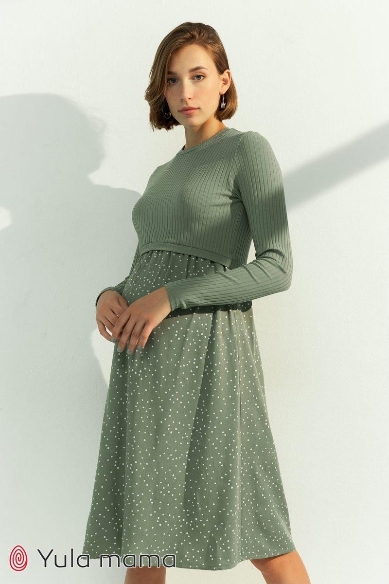 Платье для беременных и кормящих Paula оливка