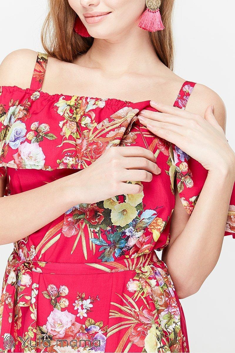 Блузка для годування Brenda квіти на малині