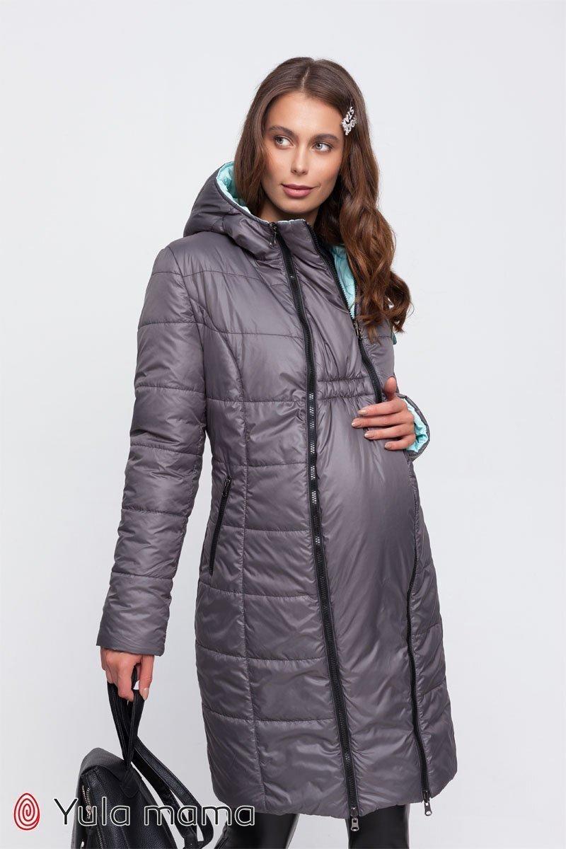 Двостороннє пальто для вагітних Kristin сірий зі світлою м'ятою