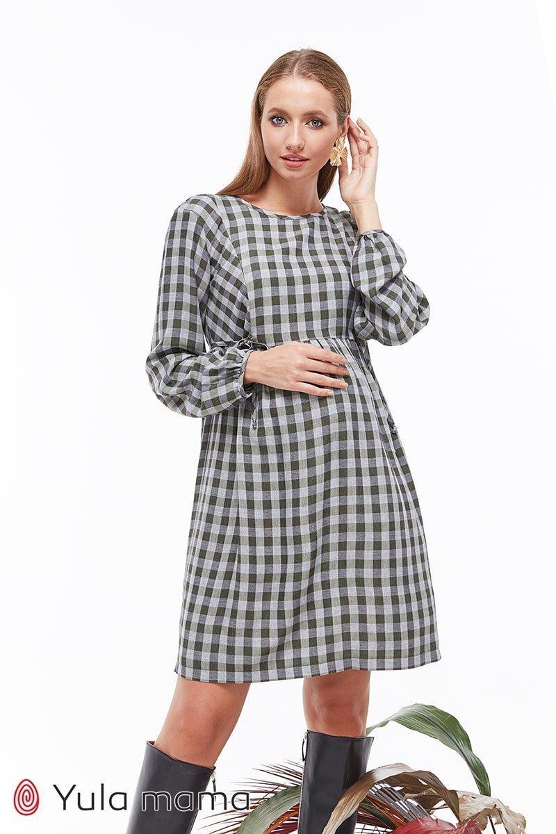 Платье в клетку для беременных и кормящих Loraine клетка хакки