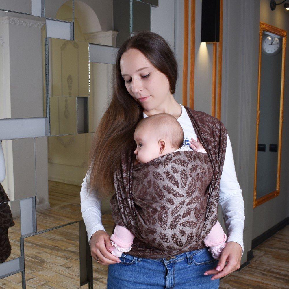 Тканый жаккардовый слинг шарф шоколадный Feathers