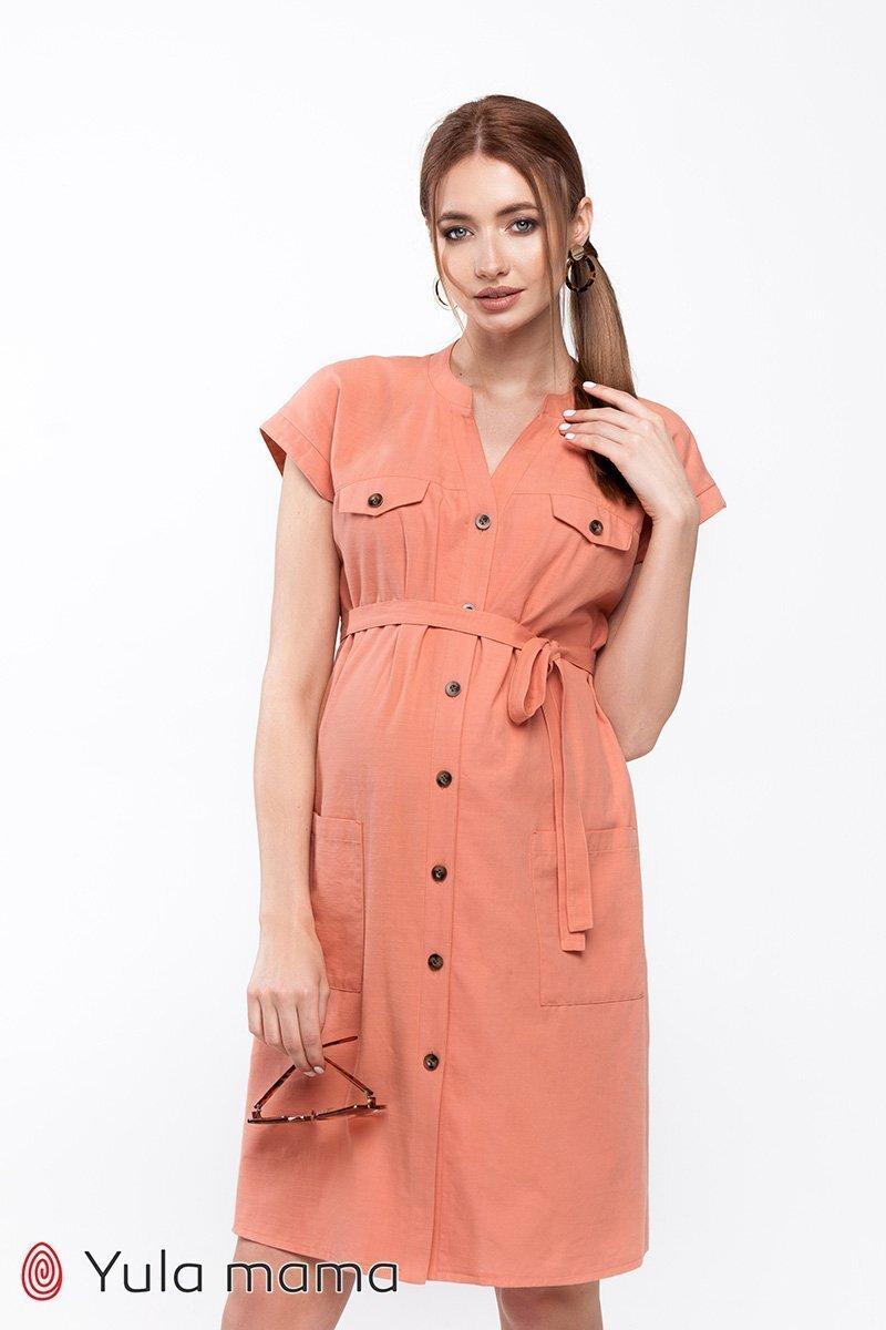 Платье-рубашка для беременных и кормящих Ivy терракотовый