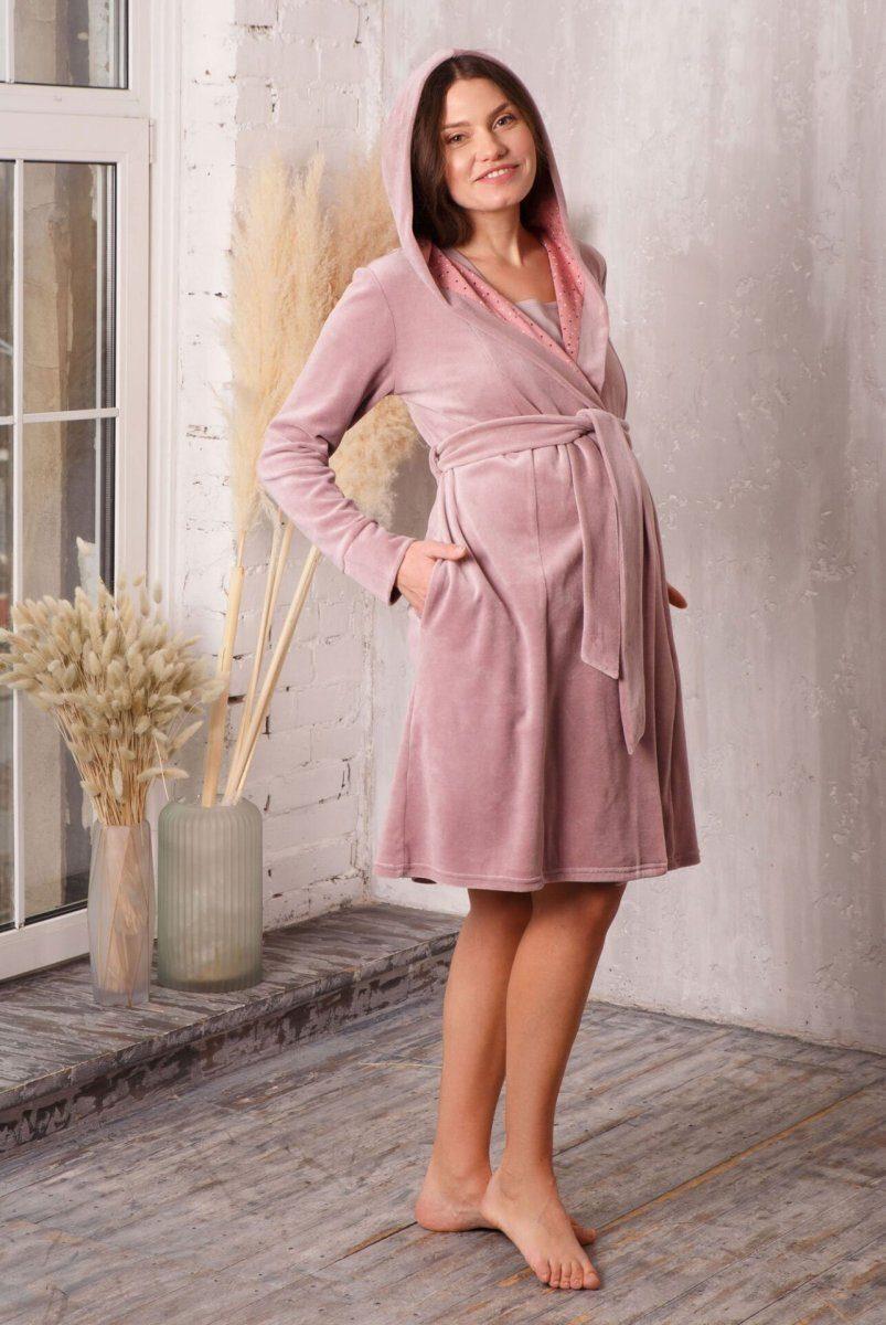Халат Care с капюшоном велюровый пудра-беж для беременных и кормления