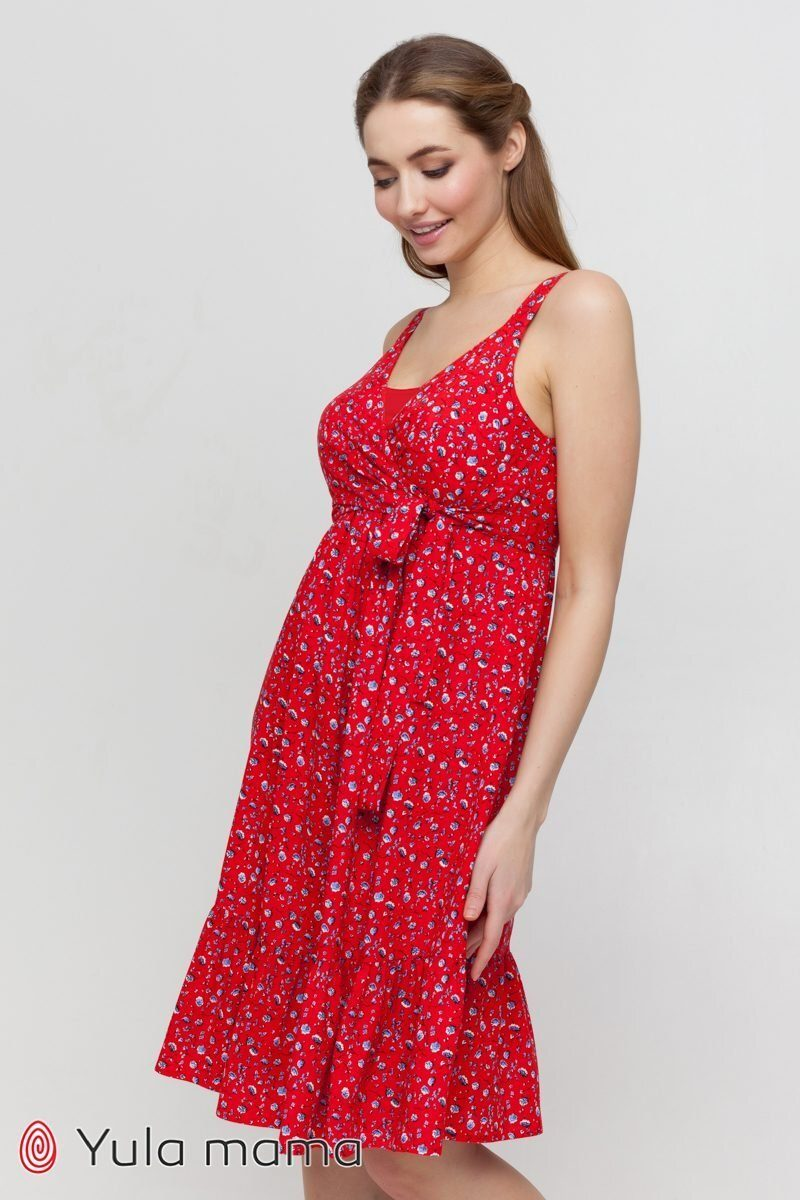 Сарафан для беременных и кормящих Chantal красный