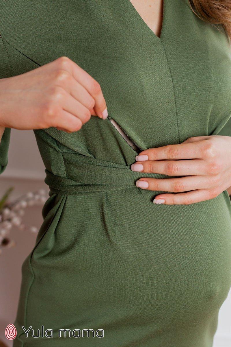 Нарядное платье для беременных и кормящих Mirella хакки