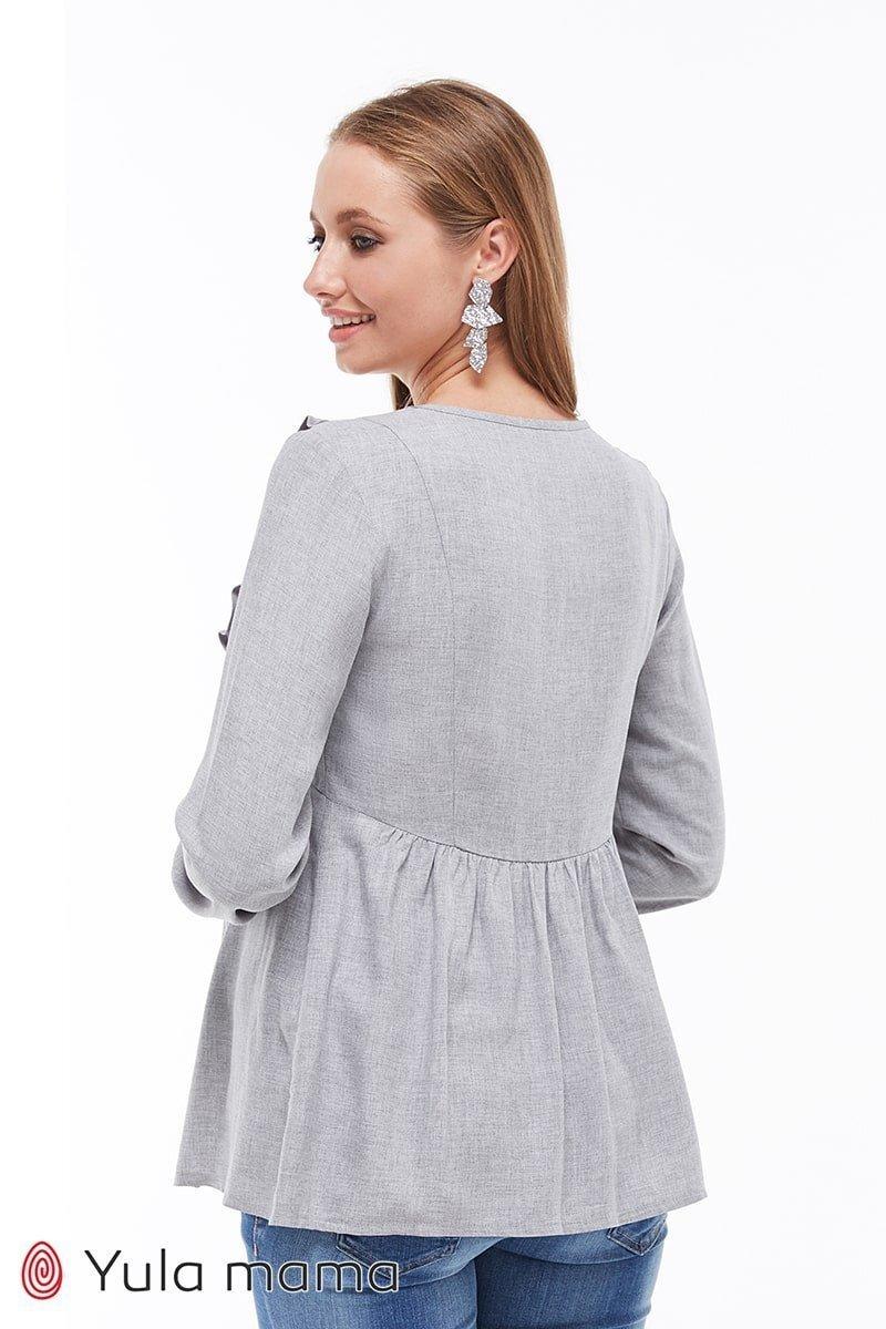 Блузка с рюшами для беременных и кормящих Marcela серый меланж