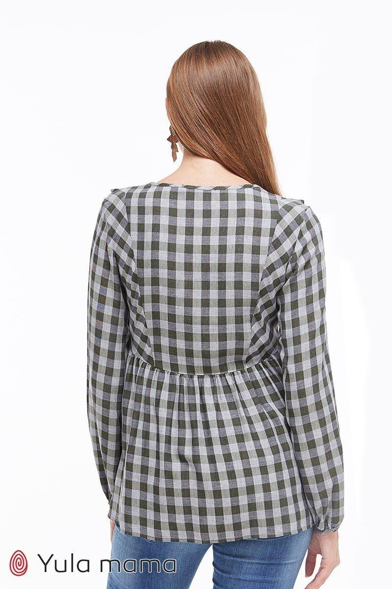 Блузка с рюшами для беременных и кормящих Marcela серо-зеленая