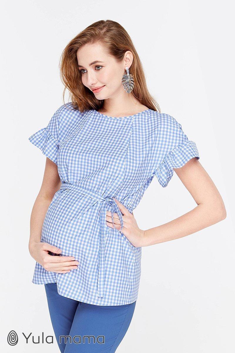 Блузка для беременных и кормящих Marion бело-голубая