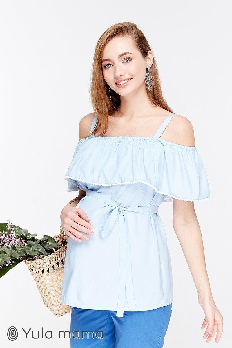 Блузка для беременных и кормящих Brenda светло-голубой