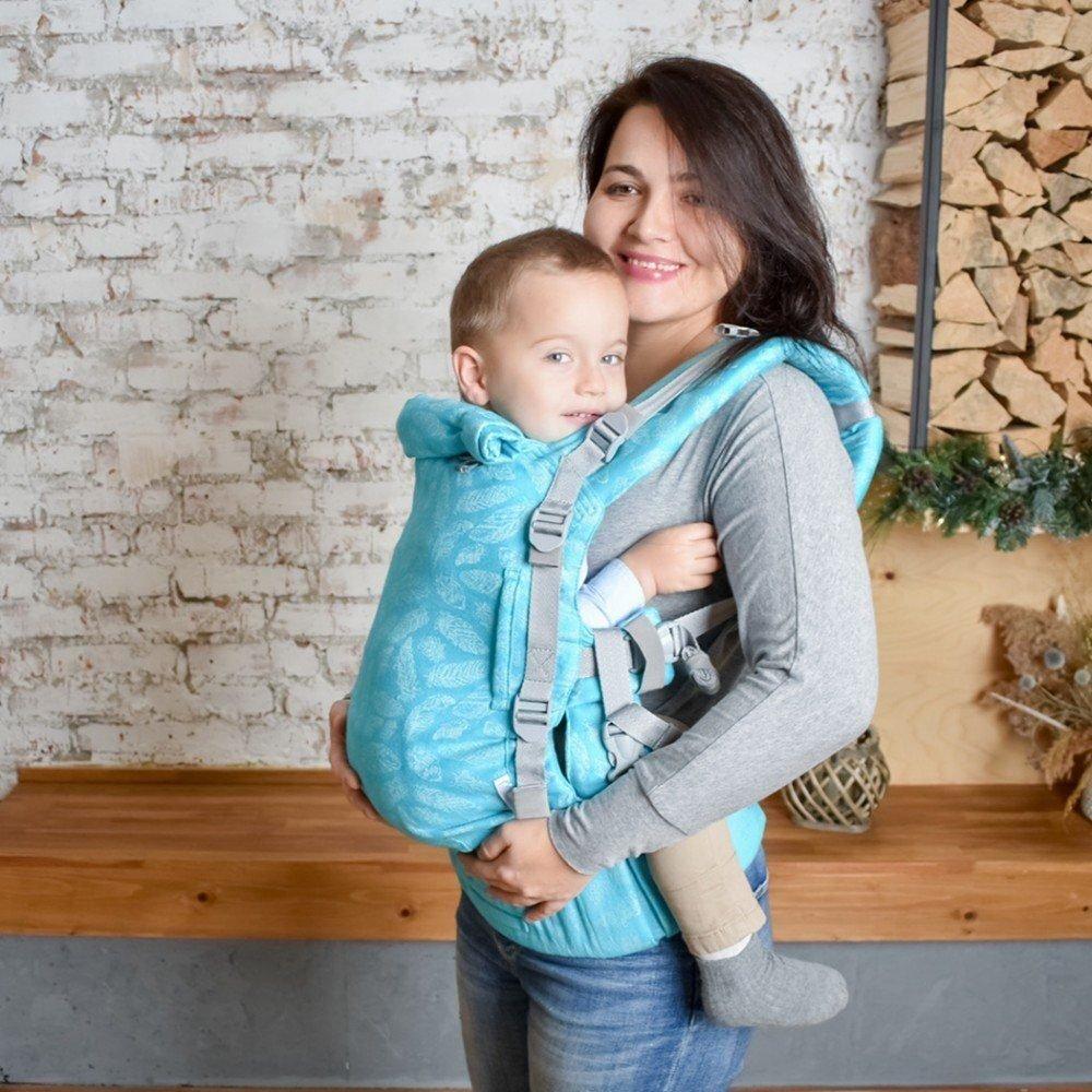 Шарфовый эрго рюкзак Adapt бирюзовый Feathers (0-48 мес) с рождения