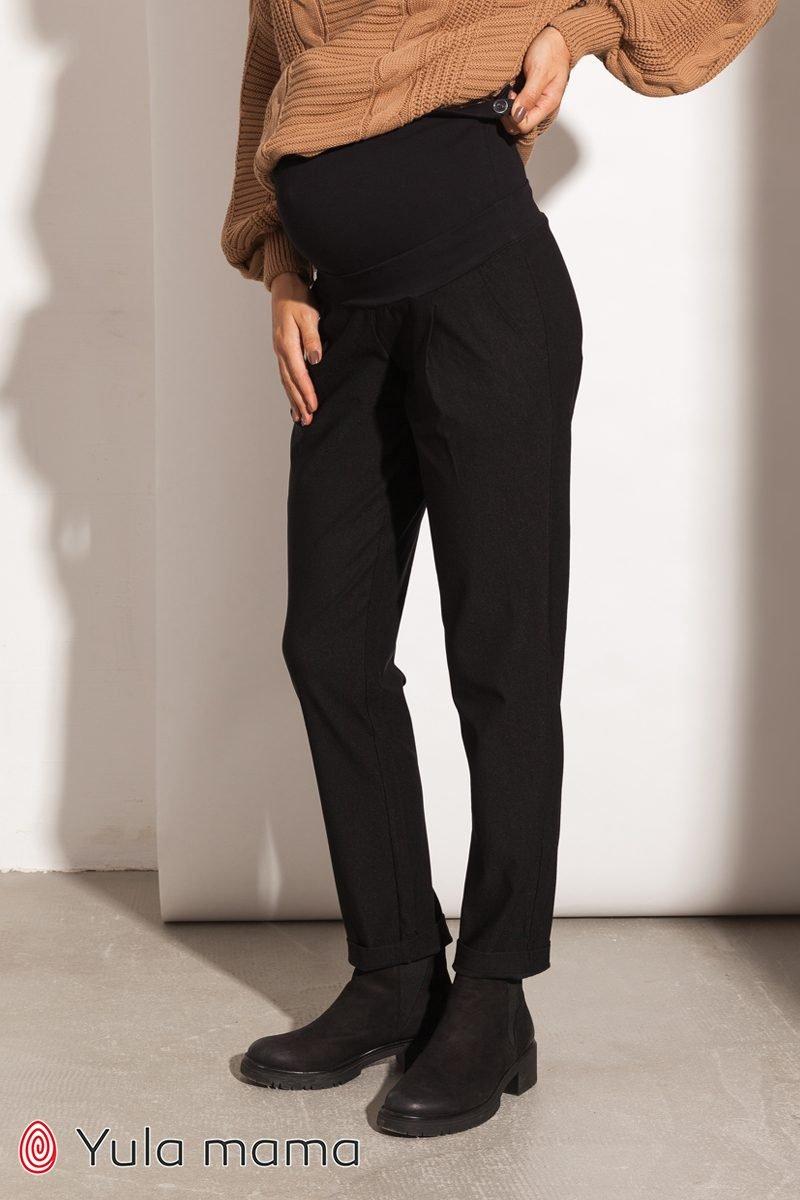 Теплі штани-чінос для вагітних Fiona чорний