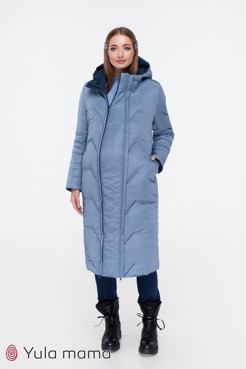 Зимнее пальто для беременных Tokyo синий + голубой