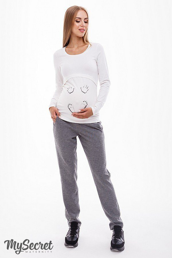 Брючки для беременных Dominica серый меланж