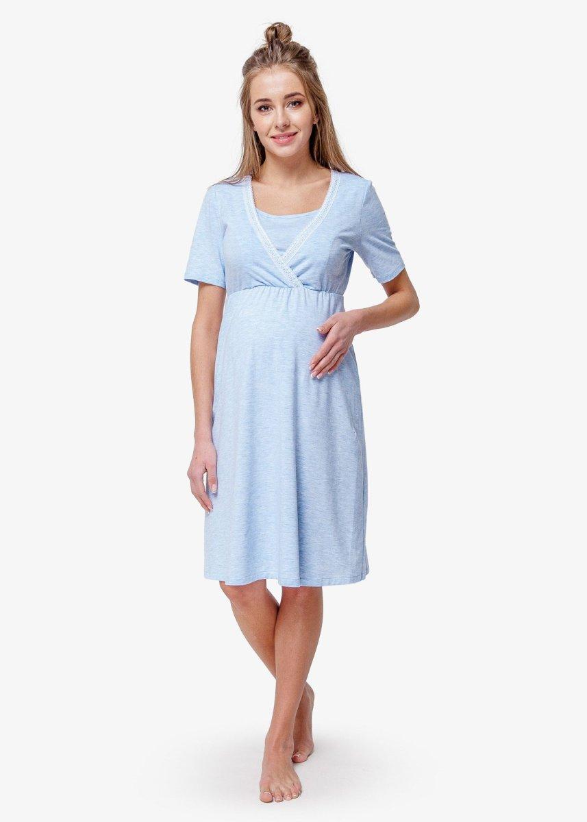 Комплект в роддом халат+ночная blue coton (хлопок)