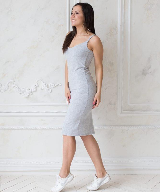 Платье для беременных и кормящих мам Bodycon Grey