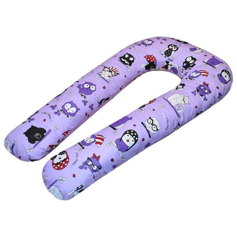 U-образная подушка для беременных Совы на фиолетовом