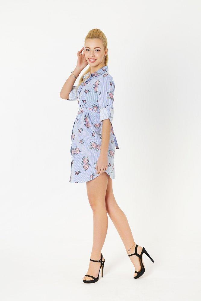 Платье-рубашка для беременных 31034071 голубой