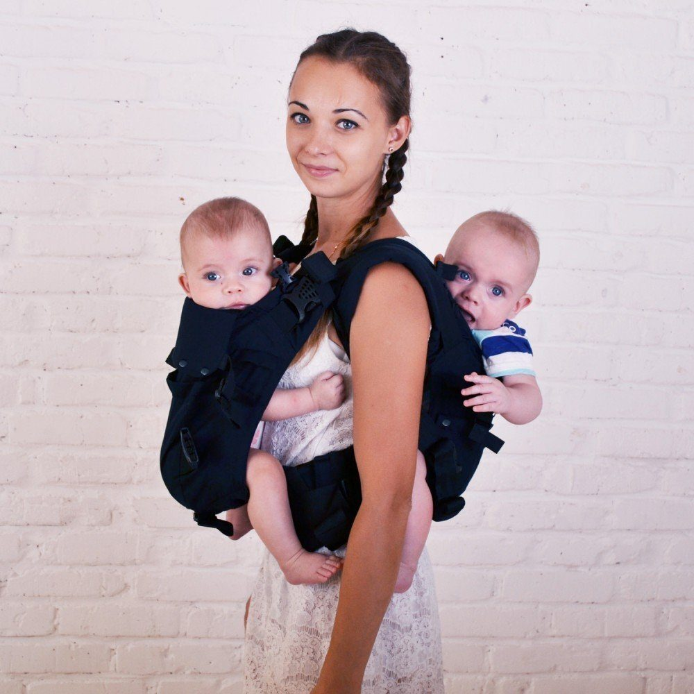 Эрго рюкзак для двойни Малышастик 4 в 1 черный